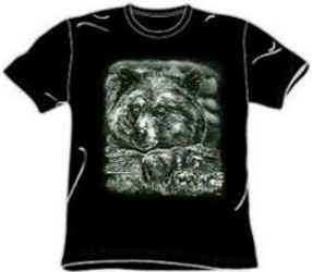Black and White Ink Grizzly Bear T-Shirt