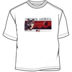 Outdoor America wolf and red sky tee shirt