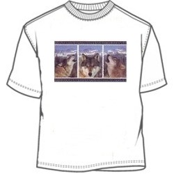 Three pane portrait wolves tee shirt