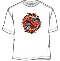Biker double skull flames red ying yang tees