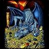 Blue Dragon guarding gold tee shirt