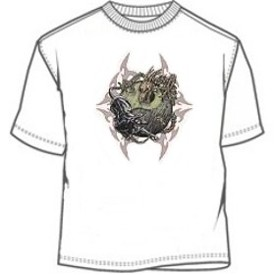 Skeleton dragon blad panther ying yang tee shirt