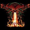 Demonic demolition red devil skull symbol with burning victims tee shirt