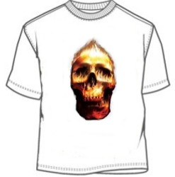 Red and yellow flaming fire skull tees