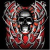 Evil grey tribal skull red backing Tees