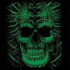 Cool psycho green skull with marking tee shirt