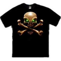 Green eyes Skull and Crossbones Tee Shirt