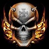 Horned Skull Iron Cross and Flames Tee Shirt