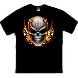 Horned Iron Cross Skull T-Shirt - Cool Evil Skull Tees