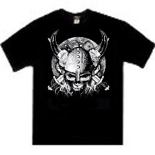 Viking warrior skull with horns tees