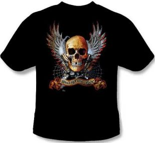 Winged Skull Shut up and Ride  Tee