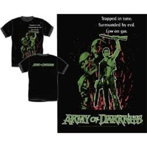 Army Of Darkness Trapped In Time Low On Gas Ash Tee Shirt