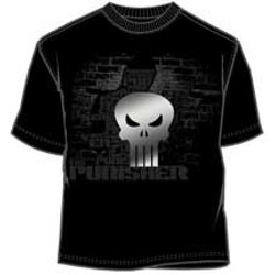 Frank Castle Behind A Brick Wall Along With Punisher Logo and Name