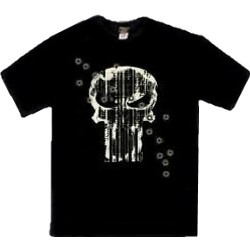 Classic Punisher Logo Printed In White Ink With Machine Gun Fire