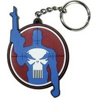 Outline of the Punisher in the scope of a rifle keychain
