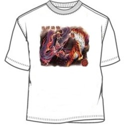 Asian dragon fighting tiger symbol shirt