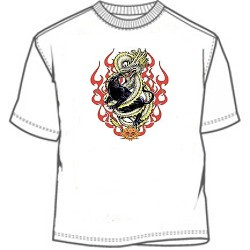 Flaming black panther and dragon tribal tee shirt