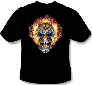 Flaming Clown Skull T-Shirt