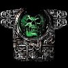 Immersion green skull bone tee shirt