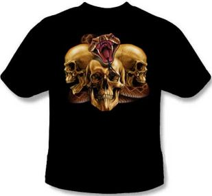 Striking rattlesnake with three skulls evil tee shirt