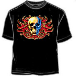Split Skulls Tribal Tee Shirt