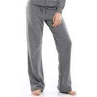 Women's fleece pants with a drawstring.